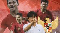 Timnas Indonesia - Shin Tae-yong, Asnawi, Osvaldo Haay, Syahrian Abimanyu (Bola.com/Adreanus Titus)