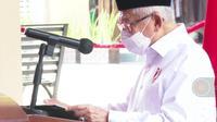 Wakil Presiden Ma'ruf Amin saat meresmikan Pasar Rakyat Pariaman. (Liputan6.com)