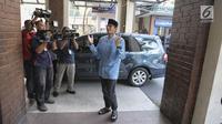 Bakal Cawapres Sandiaga Uno tiba di kantor PBNU, Jakarta, Kamis (16/8). Pertemuan tersebut merupakan lanjutan pertemuan antara Prabowo dan Said Aqil Siroj sebelum pendaftaran capres-cawapres, Senin (16/7/2018) lalu. (Liputan6.com/Faizal Fanani)