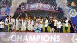 Timnas Indonesia U23 tampil menjadi juara setelah tidak terkalahkan dalam tiga kali pertandingandalam turnamen mini MNC Cup yang digelar di Stadion GBK Jakarta (Liputan6.com/Helmi Fithriansyah).