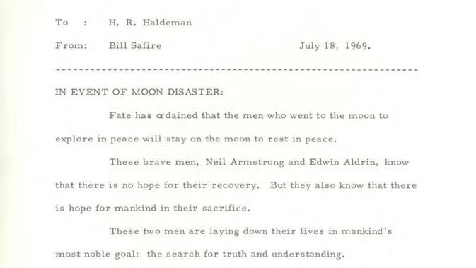 Pidato Richard Nixon jika astronot tidak pulang ke Bumi (courtesy of the Richard Nixon Presidential Library and Museum).