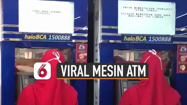 Kejadian tak biasa di mesin ATM terekam kamera warganet.