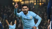 Gelandang Manchester City, Ilkay Gundogan, tak menyangka bisa dengan mudahnya membobol gawang Tottenham Hotspur dalam pertandingan Premier League 2017-2018. (AFP/Oli Scarff)