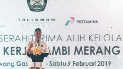 Dirut Pertamina Hulu Energi, Meidawati menyampaikan sambutan pembuka Seremoni Serah Terima Alih Kelola Wilayah Kerja Jambi Merang di Sungai Kenawang Gas Plant, Sumatera Selatan, Sabtu (9/2). (Liputan6.com/Helmi Fithriansyah)