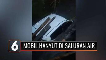 VIDEO: Mobil Terperosok dan Hanyut di Saluran Air, Diduga Sopir Belum Mahir Mengemudi