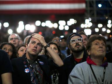 Pendukung Capres dari Partai Demokrat Hillary Clinton menyaksikan hasil perhitungan suara Pilpres AS 2016  di New York, AS, (8/11). (REUTERS/Carlos Barria)