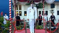 Wakil Wali Kota Bengkulu Dedy Wahyudi menjadi inspektur upacara HUT ke 75 Kemerdekaan RI di Kota Bengkulu. (Liputan6.com/Yuliardi Hardjo)