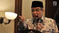 Ketum PBNU Said Aqil Siroj memberikan sambutan saat peluncuran Rumah Pangan Santri di Gedung PBNU, Jakarta, Rabu (3/10). PBNU dan Bulog meluncurkan Rumah Pangan Santri yang dapat diakses melalui aplikasi di ponsel pintar. (Merdeka.com/Iqbal S. Nugroho)