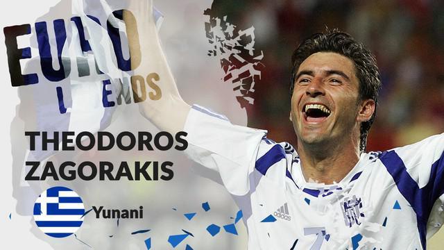 Berita motion grafis profil legenda Theodoros Zagorakis, kapten karismatik Yunani yang tampil mengejutkan di Piala Eropa 2004.