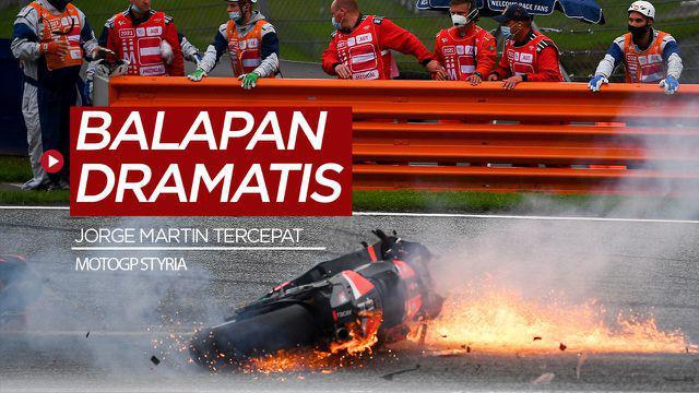 Berita video highlights MotoGP Styria, Jorge Martin finish tercepat dan insiden kebakaran motor Dani Pedrosa serta Lorenzp Savadori, Minggu (8/8/21)