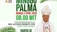 Misa Minggu Palma sebagai masuknya pekan suci jelang Paskah di Asmat dilakukan dengan on air radio. (Liputan6.com/Komsos Keuskupan Asmat/Katharina Janur)