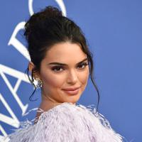 Model Kendall Jenner berpose saat menghadiri CFDA Fashion Awards 2018 di Museum Brooklyn di New York City, AS (4/6). Model 22 tahun ini tampil cantik dengan balutan gaun cocktail pink berbulu dan rambut berponi. (AP Photo/Evan Agostini)
