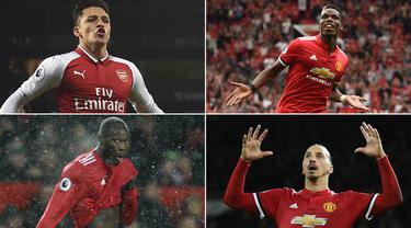 Berikut ini tujuh pesepak bola di Premier League dengan nilai gaji tertinggi. Pada posisi teratas ada striker anyar Manchester United, Alexis Sanchez. (Kolase foto-foto dari AFP)