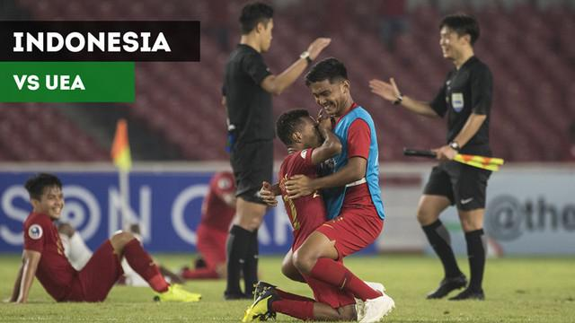 Berita video highlights kemenangan dramatis Timnas Indonesia U-19 atas UEA (Uni Emirat Arab) pada laga terakhir Grup A Piala AFC U-19 2018 di SUGBK, Rabu (24/10/2018).