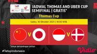 Jadwal semifinal Piala Thomas Jepang vs China