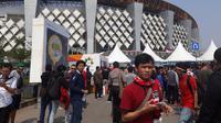 Penonton Timnas Indonesia U-23 Asian Games 2018 di Stadion Wibawa Mukti, Cikarang. (KLY Sports/Fitri Apriani)
