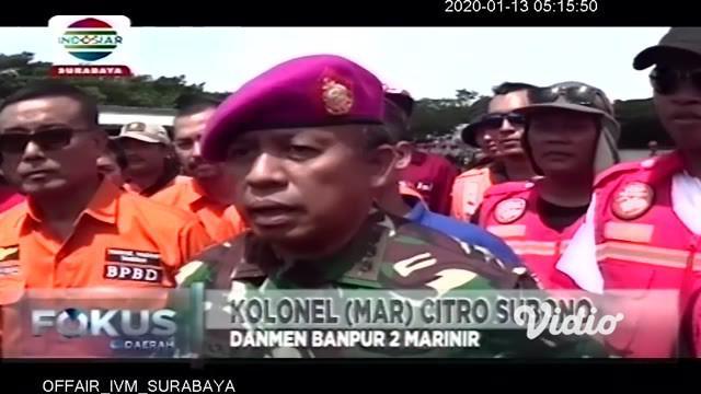 Komandan Resimen Bantuan Tempur 2 Mar, Kolonel Marinir Citro Subono memimpin apel gelar personel dan material dalam rangka siaga bencana alam, yang melibatkan ratusan personel satgas Marinir, BPBD, Basarnas dan Komunitas Offroad Jawa Timur.