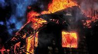 Ilustrasi rumah terbakar