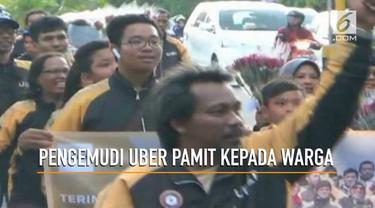 Pasca akusisi Uber oleh Grab Ratusan pengemudi uber di Yogyakarta menggelar aksi simpatik sekaligus pamit kepada warga Yogyakarta
