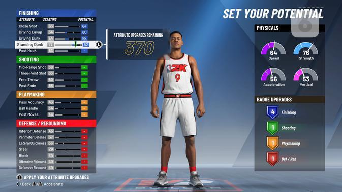 Ingin merasakan bagaimana rasanya menjadi pemain NBA amatir? Coba MyCareer. (Liputan6.com/ Yuslianson)