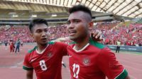 Pemain timnas Indonesia, Saddil Ramdani, menangis saat merayakan kemenangan Indonesia atas Kamboja di Stadion Shah Alam, Selangor, Kamis, (24/8/2017). Indonesia menang 2-0 atas Kamboja. (Bola.com/Vitalis Yogi Trisna)