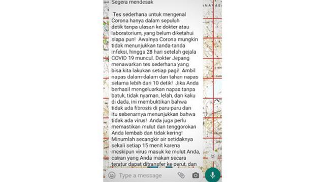 Cek Fakta Viral Tes Sederhana Deteksi Virus Corona Dalam 10 Detik Benarkah Cek Fakta Liputan6 Com