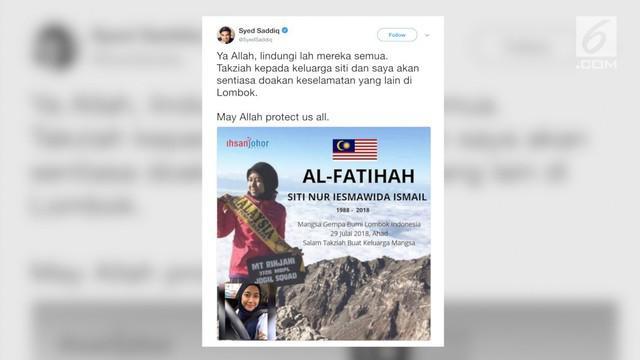 Gempa yang mengguncang Lombok menewaskan seorang remaja asal Malaysia. Menpora Malaysia Syed Saddiq menyampaikan belasungkawanya melalui media sosial.