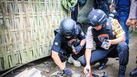 Tim Cobra Polres Lumajang saat melakukan penggerebekan ke rumah yang menjadi sarang pelaku begal, Kamis (23/5/2019). (Liputan6.com/ Dian Kurniawan)