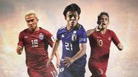 Pemain Asia dengan julukan Lionel Messi: Chanathip Songkrasin, Takefusa Kubo, Egy Maulana Vikri (Bola.com/Adreanus Titus)