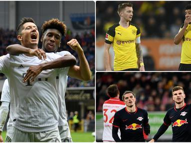 Duet antara pemain gelandang dan striker menjadi sangat mematikan bila keduanya mampu bekerjasama dengan baik. Robert Lewandowski dan Serge Gnabry menjadi duet penyerang yang mematikan bagi Bayern Munchen. Berikut 4 due penyerang ganas Bundesliga 2019/2020. (kolase foto AFP)