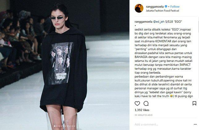 Jaket tersebut merupakan koleksi clothing brand milik Rangga Moela./Copyright instagram.com/ranggamoela