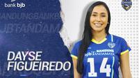 Pemain asing Bandung bjb Tandamata asal Brasil, Dayse Cristine de Oliveira Figueiredo atau Dayse Figueiredo, di Proliga 2020. (foto: https://www.instagram.com/bandungbjbtandamata)
