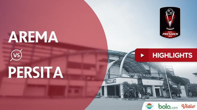 Arema FC meraih kemenangan telak 6-1 atas Persita Tangerang pada laga terakhir penyisihan Grup E Piala Presiden 2019 di Stadion Kanjuruhan, Malang, Rabu malam (13/3/2019).