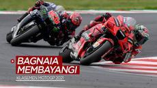 Berita motion grafis klasemen pembalap MotoGP musim 2021 setelah balapan seri San Marino, di mana Pecco Bagnaia masih membayangi Fabio Quartararo.