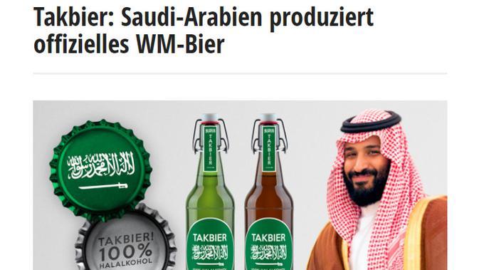 Cek Fakta Liputan6.com menelusuri klaim Arab Saudi memproduksi bir bermerek Takbier
