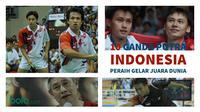 Sepanjang sejarah turnamen, ada 10 pasangan ganda putra Indonesia yang meraih gelar juara dunia. (Foto: AFP, Liputan6.com, Bola.com, Grafis: Wiwig Prayugi).