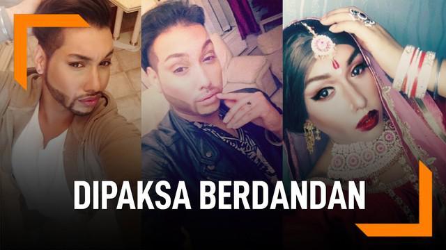 Pria gay bernama Roy Singh dipaksa ibu mertuanya mengenakan baju pengantin wanita saat menikahi pria pasangannya.C