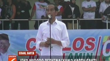 Dalam kampanye kali ini, Jokowi juga memuji pasangannya Ma'ruf Amin yang merupakan putra asli Banten.