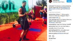 Salah satu unggahan Instagram Rio Ferdinand saat berlatih membentuk tubuh ideal untuk terjun ke dunia tinju pro.  Saat ini Rio beralih profesi menjadi seorang petinju pro. (Bola.com/Instagram Rio Ferdinand)