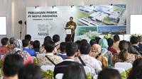 Menteri Perindustrian Airlangga Hartarto memberikan pidato saat seremoni Peletakan Batu Pertama dari Perluasan Pabrik Nestlé di Indonesia di Karawang, Jawa Barat pada Rabu (31/07/2019).