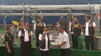 Menteri Keuangan Sri Mulyani usai melakukan penandatangan MoU dengan 7 lembaga Negara untuk membentuk Tim Penertiban Pesisir Pantai Sumatra dan Batam.