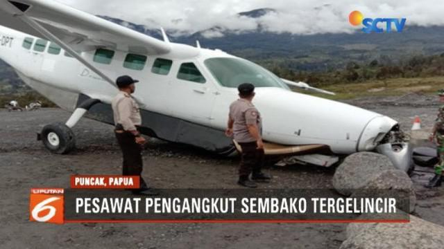 Pesawat Dabi Air pengangkut sembako tergelincir di Bandara Aminggaru Ilaga, Puncak, Papua.