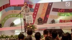Presiden Direktur PT Dyandra Promosindo Hendra Noor Saleh memberikan sambutan saat pembukaan Indonesia International Motor Show (IIMS) 2019 di JiExpo Kemayoran, Jakarta, Kamis (25/4). Untuk tahun ini terdapat 36 merek motor dan mobil dalam pameran IIMS 2019. (Liputan6.com/Faizal Fanani)
