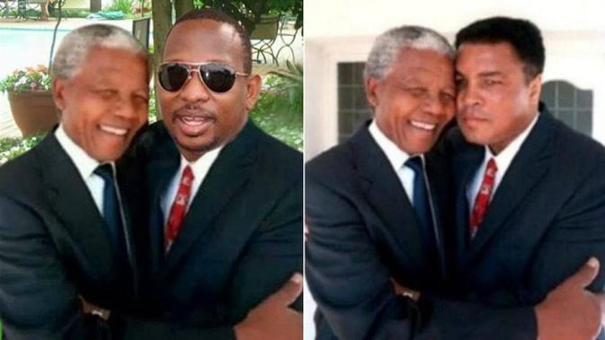 Foto buram Nelson Mandela bersama senator dari Kenya, Mike Sonko. (Facebook/Mike Sonko)