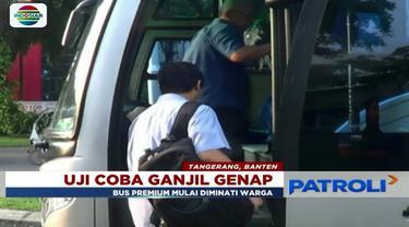 Hari kedua pelaksanaan uji coba ganjil genap Tol Tangerang, masyarakat mulai menggunakan bus premium.