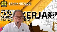 Kepala Badan Geologi Eko Budi Lelono pada Konferensi Pers Virtual Capaian Kinerja 2020 dan Rencana Kerja 2021 Badan Geologi.