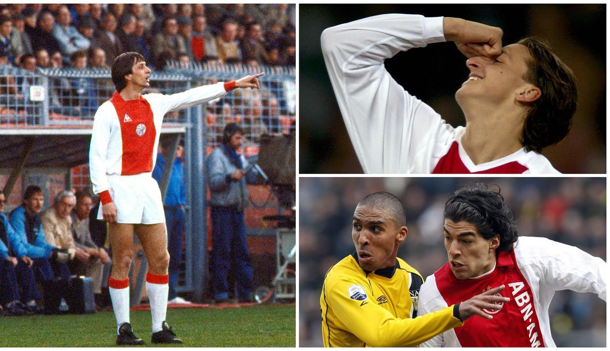 Meski tidak sehebat Barcelona ataupun Juventus, Ajax Amsterdam tercatat pernah dibela sejumlah pesepak bola dengan kualitas nomor satu. Berikut ini tujuh bintang dunia yang pernah membela Ajax Amsterdam. (Kolase Foto dari AFP)