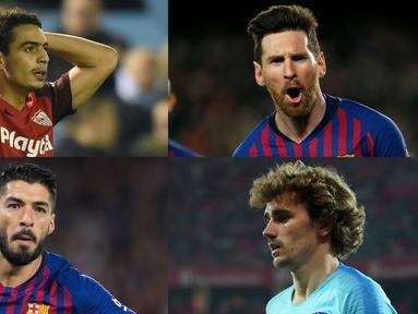 Lionel Messi kian perkasa di singgasana top scorer La Liga dengan raihan 31 gol, terpaut 11 gol dari Luis Suarez yang berada di bawahnya. (Kolase Foto AFP)