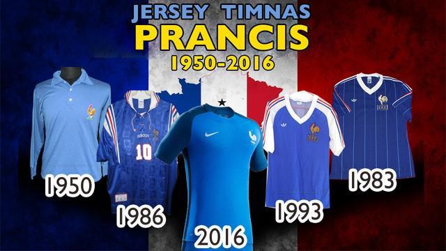 Video jersey sepak bola tim nasional negara Prancis dari tahun 1950 hingga 2016.