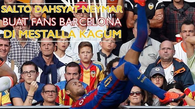 Video aksi salto Neymar yang nyaris membuahkan gol saat Barcelona bertandang melawan Valencia di Stadion Mestalla pekan lalu.